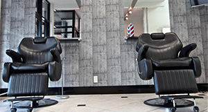 Hair Stylists in Rotorua - Barber area- Black Chairs